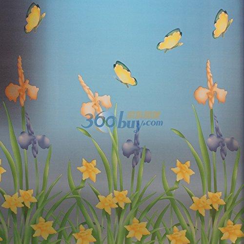 YUELA Verdicken Glas Folie opak Glasmalerei Folie UV-Schutz Sonnenschutzmittel matt Bad Fenster Aufkleber 90 Breite 2 Meter lang 6034 Rose, 6018 Licht Tanz fliegen