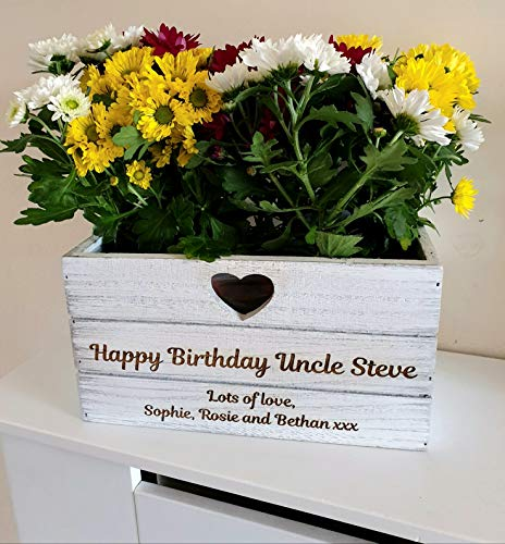 Personalised Planter Plant Pot Engraved Birthday Gift Lined Wooden Vintage Gifts for Nanny Mum Gran
