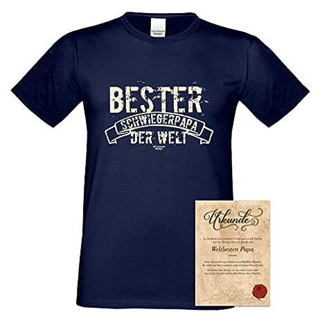 Herren-Männer-Sprüche-Motiv-Vater-Fun-T-Shirt :-: als Geburtstags-Weihnachts-Vatertags-Geschenk :-: Bester Schwiegerpapa der Welt mit Urkunde :-: Farbe: navy-blau Gr: M