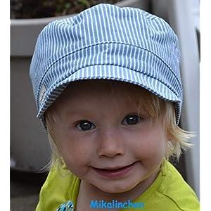 Michelmütze Baumwolle hellblau/weiß gestreift