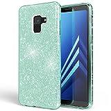 NALIA Hülle kompatibel mit Samsung Galaxy A8 (2018) Glitzer Handyhülle Ultra-Slim Silikon Case Back-Cover Schutzhülle, Glitter Handy-Tasche Bumper, Dünnes Bling Phone Etui, Farbe:Mint