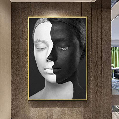 guohao Moderne Abstrakte Wandkunst Leinwand Malerei Porträt Drucke Schwarz Und Weiß Sexy Frauen Wandbilder Für Wohnzimmer Decor-60X90Cm Kein Rahmen