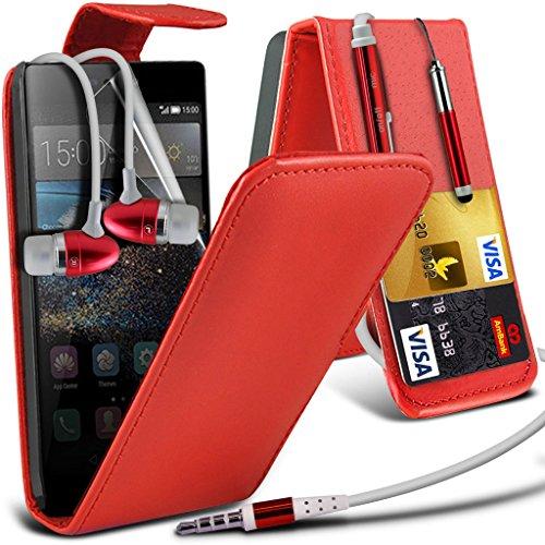 i-Tronixs (Red + Kopfhörer) <b> Huawei Ascend P8 Hülle Tasche Schutzhüllel </ b> Premium Qualität PU-Leder-Schlag mit Kredit- / Bankkarte Slot-Kasten-Haut-Abdeckung mit LCD Screen Protector + Aluminum Earbud Kopfhörer Garde, Poliertuch und Mini-versenkbaren Stylus Pen Lcd-haut