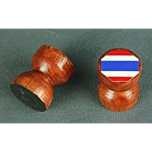 Magnet Thailand Flagge 25x25 mm runder Holzknauf dunkles Holz Flaggenmagnet