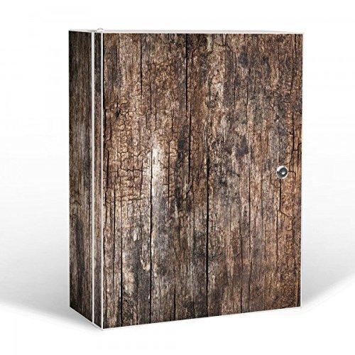 #banjado – abschliessbarer Medikamentenschrank 35x46x15cm mit Motiv Altes Holz#