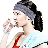 HopMore Bandeau Sport pour Femme Homme Headband Elastique Antidérapant Bandeau Cheveux Sueur Absorbant pour Running Basketball Yoga Cyclisme Volleyball Badminton Fitness - Gris