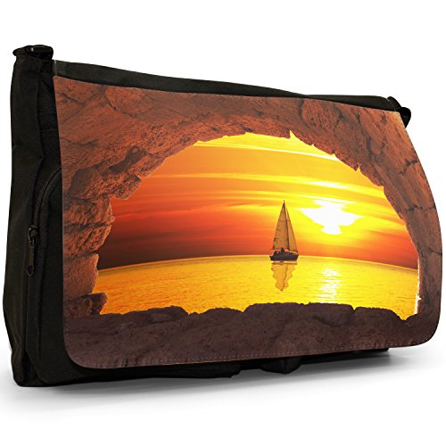 Fancy A Bag Borsa Messenger nero Rickety Wooden Pier In Water Opposite Mountains Orange Sunset Through Tunnel With Sea