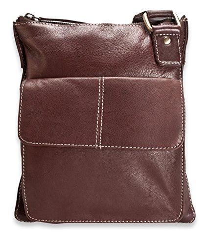 """Brunhide Borsa tracolla, a spalla e a mano in vera pelle adatta per tablet 7""""�?# 112-300 Marrone"""