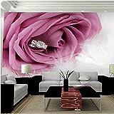 Shuangklei Grande Romantico Rosa Carta Da Parati Fiore Murale Diamante Feather 3D Foto Murales Wallpaper Per Camera Da Letto Sfondo 3D Murale-200X140Cm