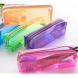 INFInxt Transparent Medium Size Zipper Pouch Stationery Pen Case Portable Cosmetic Storage Case Birthday Return Gift (6 Piece)