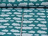 Swafing Jersey Wolken Verena hellpetrol Öko-Tex Standard 100 (ab 25cm x 160cm)