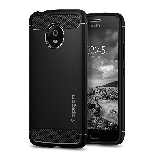 Moto G5 Hülle, Spigen® [Rugged Armor] Karbon Look [Schwarz] Elastisch Stylisch Soft Flex TPU Silikon Handyhülle Schutz vor Stürzen und Stößen Schutzhülle für Moto G5 Case Cover Black (M08CS21501)