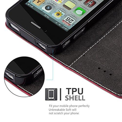 Cadorabo - Etui Housse pour Apple iPhone 4 / 4S avec Fermeture Magnétique Invisible (stand horizontale et fentes pour cartes) désign Similicuir-similicuir de cerf - Coque Case Cover Bumper Portefeuill ROUGE-NOIR