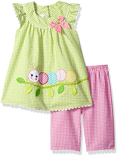 Bonnie Jean Girls' Toddler Two Piece Seersucker Appliqued Capri Set, Caterpillar, 2T Bonnie Jean Capri-jeans