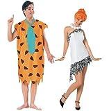 Fancy Me Paar Herren & Damen 60s Jahre Kostüm FRED & Wilma Feuerstein Feuerstein Verkleidung Outfit - Multi, Ladies 8-10 & Mens STD