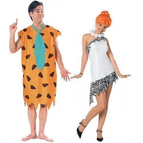 Kostüm Fred Feuerstein (Paare Herren & Damen 60s Karneval Kostüm Fred & Wilma Feuerstein Fasching Outfit, Mehrfarbig, Damen 36-38 & Herren)