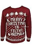 Damen/Herren Pullover Strick-Pullover mit Weihnachts-Motiv, Retro, Pullover, Bordeaux