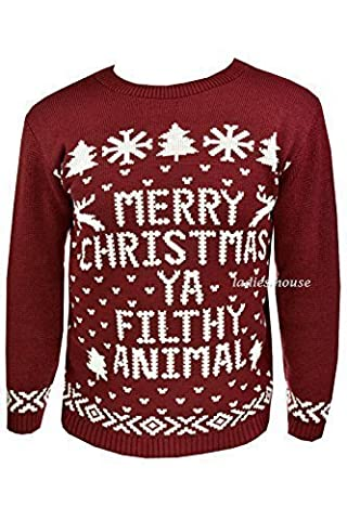 New Mens Womens Xmas Jumpers Novelty Sweater Knitted Retro Pullover Burgundy