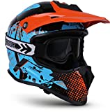 "Soxon® SKC-33 Set ""Fusion Orange"" · Kinder-Cross-Helm · Motorrad-Helm MX Cross-Helm MTB BMX Quad · ECE Schnellverschluss SlimShell Tasche XS (51-52cm)"