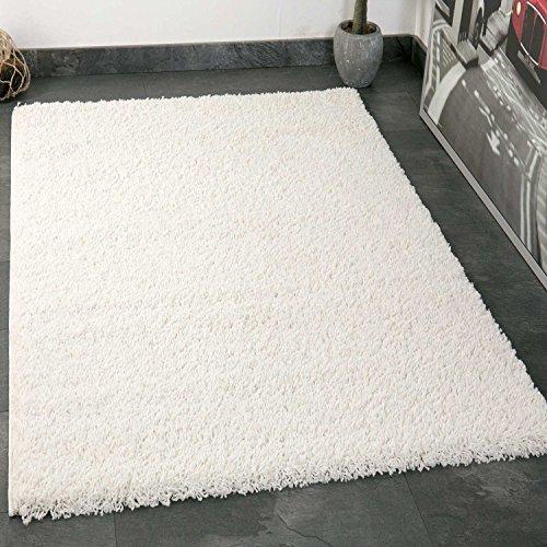 VIMODA Prime Shaggy Teppich Weiss Creme Hochflor Langflor Teppiche Modern für Wohnzimmer Schlafzimmer, Maße:80x150 cm