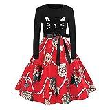 Weihnachtskleid, HUYURI Frauen Langarm Weihnachten Katzen Print Vintage Kleid Partykleid