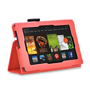 Bingsale Folio Slim Fit Leather Smart Cover Case with Auto Sleep / Wake Feature for 2013 All-New Amazon Kindle Fire HD 7 Inch Tablet 2013(NOT for 2012 Kindle Fire HD 7) (All-New Amazon Kindle Fire HD 7 Inch Tablet, orange)