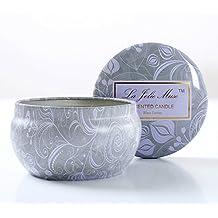 Bougies parfumées aromathérapie Tin bougie 35 Hrs, huiles essentielles, cire de soja naturelle, de Lotus bleu cadeau bougies