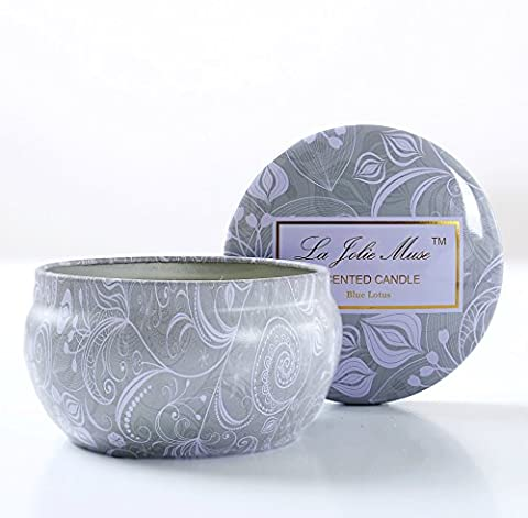 Scented Candles Soy Wax Tin Candle 185 g, Blue Lotus
