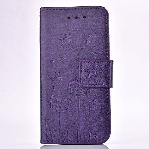 Case pour la Apple iPhone 5 / 5s / SE Coque,pissenlit Étui en PU Cuir Phone Case Cover Couverture Fonction Support avec Fermeture Aimantée de Feuille Motif Imprimé+Bouchons de poussière (3HR) 4