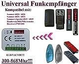 Universal Funkempfänger kompatibel mit Sommer 4020 TX3-868-4 / 4026 TX3-868-4 / 4031 TX08-868-4 / 4025 TX02-868-2 / 4035 / 4026 TX02-868--2 / 4011V001 868,8Mhz handsender. Auch kompatibel mit 868,8Mhz Aperto & HANDERSON 868,8Mhz handsender. 2-befehl Rolling Fixed code 300Mhz-868Mhz 12 - 24 VAC/DC Funkempfänger.