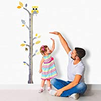 Brunoko Children Height Measure Growth Wall Chart Stickers for Nursery Decoration - Removable eco-Friendly Tree Baby Wall Art with Owl - Designed in Spain