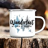 Campingbecher Emaille Wanderlust mit dem Spruch We Could go Anywhere - Emailletasse/silberner Tassenrand