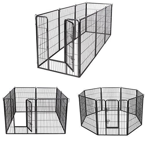 Songmics 8-tlg Welpenauslauf für Hunde Kaninchen und Andere Kleine Haustiere 80 x 100 cm (B x H) Grau PPK81G - 2