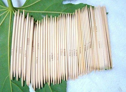 11 Packung mit 13 cm Doppelpunkt Bambus Stricken Kits Nadeln 5 Sets (Nadelkopf: 2mm - 5 mm) -
