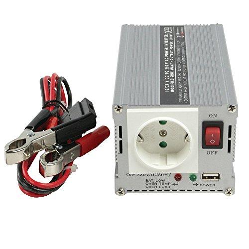 Wechselrichter + USB-Port 24V - 230V 300W + Batterie Klemmen für LKW / Boot Batterien mit 24 Volt