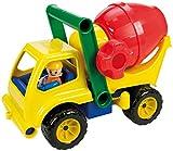 Lena 04353 - Aktive Betonmischer LKW, ca. 28 cm, mit beweglicher Spielfigur, Baustellen Spielfahrzeug für Kinder ab 2 Jahre, robustes Mischfahrzeug mit Griff und funktionstüchtiger Mischtrommel, für Einsatz im Sandkasten, am Strand und Kinderzimmer