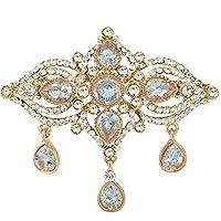 EVER FAITH® CZ Austrian Crystal 1920s Style Art Deco Teardrop Brooch Gold-Tone Clear N05541-1