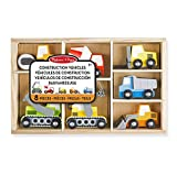 Melissa & Doug Set de 7 vehículos de construcción, Wooden Construction Site Vehicles (13180)