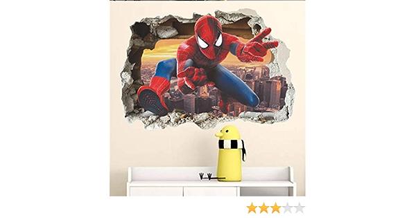 ZooYoo ® effet 3d Hero Spiderman à Travers Mur Autocollants Enfants Chambre Mur Art Décor