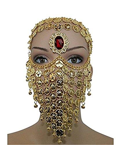 nz Ägyptischen Halloween Kostüm Kopfbedeckung Münzen Gesichtsmaske Schleier Tribal Beduine Burka Burqa Metall Kopf Kette (Golden) (ägyptische Halloween-kostüm)