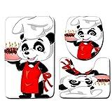 baijuxing Bagno Cuscino del Sedile del Water 3 Serie Panda Serie di Servizi igienici Toilette Adesivi per Il Bagno Antiscivolo Cuscino del Sedile del Water, 45 cm * 75 cm