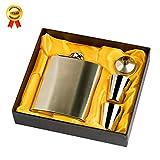 kokeo _ store Edelstahl Flachmann-Set mit Geschenk-Box Arbeitshemd 196ml Flachmann mit Trichter & Shot Tassen Edelstahl Flachmann tragbar Schnabelkanne Wein Flasche für Whisky/Wein/Whiskey (Silber) silber