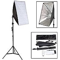 TecTake Profi Fotostudio Set inkl. Leuchtmittel Softbox + Tasche - diverse Modelle - (Studioleuchte mit Stativ Art. 400752)