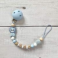Schnullerkette Schnullerhalter Nuckelkette mit Namen Silikon Holz Löwe hellblau