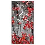 Glasuhr von DekoGlas 30x60cm waagerechte Bilderuhr aus Acryl-Glas mit lautlosem Quarzuhrwerk Dekouhr Glaswanduhr Uhr aus PMMA Wanduhren Küchenuhr Wanddekoration Glasbilder Blumen Rot