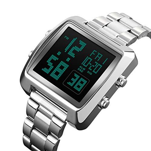 JQXB Mens Digitaluhr, Unisex Rechteck Double Time Countdown wasserdichte Sport-Armbanduhr Mit Edelstahlband,Silver