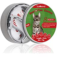 SCENEREAL Cat Flea & Tick Collars - 8 Month Protection Adjustable Collar for Kitten Cats Puppy Tiny Pets Based on Chemical