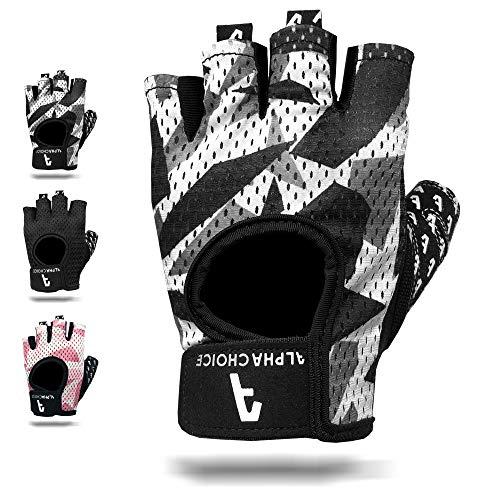 Alphachoice Fitness Handschuhe/Trainingshandschuhe ohne Handgelenksstütze für Krafttraining Gewichtheben und Bodybuilding Damen & Herren (Camouflage, M)