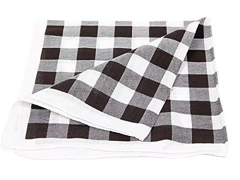 Bandana de qualité supérieure 100% coton, environ 54 x 54 cm foulard zandana écharpe accessoire vêtement vacances d'été printemps, ballade en moto vélo bateau, festivales, camping, choisir:carreaux blanc noir 204