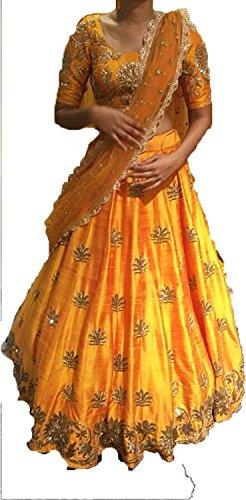 Krisha Creations Women's Cotton Silk Lehenga Choli (Kcn06_Yellow_Free Size)